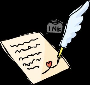 羽ペンの挿絵